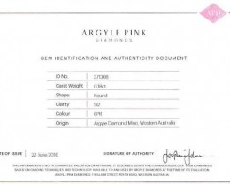 0.18 ct Certified Argyle Pink diamond  P018R6PR