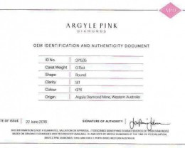 0.15 ct Certified Argyle Pink diamond  P015R6PR/A