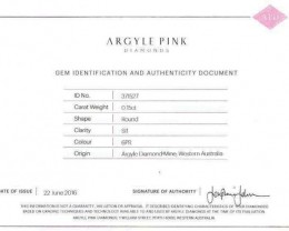 0.15 ct Certified Argyle Pink diamond  P015R6PR/B