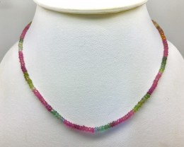 46.5 Crt Natural Faceted Tourmaline Multi Color Necklace Beads 17 inch