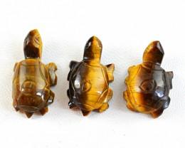 Genuine 60.50 Cts Golden Tiger Eye Hand Carved Tortoise Lot