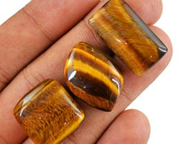 Genuine 63.00 Cts Untreated Golden Tiger Eye Cab Lot