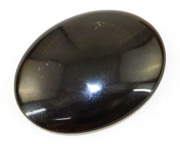 Genuine 81.00 Cts Untreated Oval Shape Black Obsidian Cab