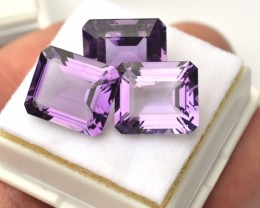 25.38 Carat Near Matched Trio of Fine Octagon Cut Amethyst