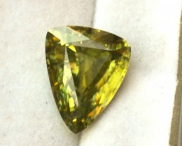 3.57 Carat Fancy Trillion Cut Apple Green Sphene