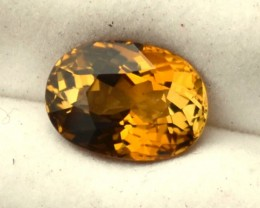 4.40 Carat Oval Cut Fine Certified Orangy Yellow Tourmaline