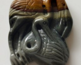 A Hand carved Jasper Focal Pendant Bead - Cranes 109.50cts