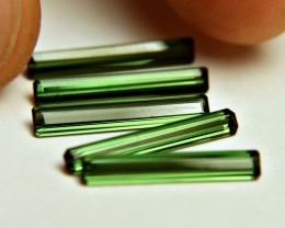 4.41 Tcw. Green Nigerian Tourmalines - 5pc - 16.5mm