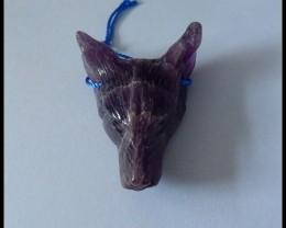 Natural Amethyst Handcarved Wolf Head Pendant Bead(s003)