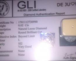 0.02 GLI cert Diamond