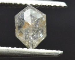 0.71ct 7.6mm hexagon irregular diamond salt pepper with cayenne hints