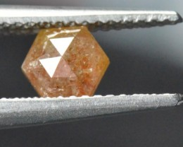 0.91ct 6mm Hexagon Rose Cut diamond reddish brown or cayenne