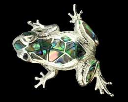 52.95Ct Stamped 925 Silver Pendant / Mother Of Pearl Frog Pendant
