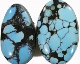 12.85 CTS TURQUOISE -SPIDER WEB- NATURAL STONES [STS496]