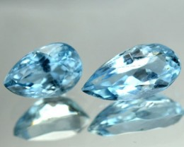 1.37 Cts Natural Blue Aquamarine Pear Cut 2 Pcs Brazil Gem