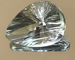 16.26CT 'WIND SAIL' CUSTOM CUT PRASIOLITE AMETHYST SPECTACULAR STONE