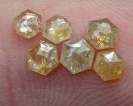 0.775ct parcel 2.6 to 3.1mm of 6 Hexagon diamonds white cayenne copper