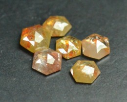 1ct parcel 3.8 to 4.15mm of 6 Hexagon diamonds cayenne yellow brownish
