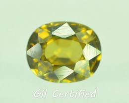 GiL Certified 1.52 ct Natural Yellow Zircon Untreated Combodia PR.1