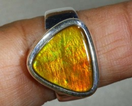 RING SIZE 7 BRIGHT AMMOLITE SILVER RING SG-2420