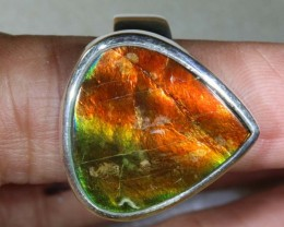 RING SIZE 9 BRIGHT AMMOLITE SILVER RING SG-2425