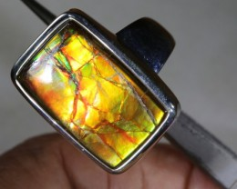 RING SIZE 8.5 BRIGHT AMMOLITE SILVER RING SG-2427