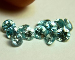 6.61 Tcw. Blue VVS Zircon Accent Gems - 4.5mm - 12 Pcs.