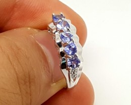 STAMPED  925 SILVER  RING WITH NATURAL TANZANITE