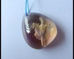 Natural Ametrine Water Drop Carving Horse Pendant Bead,30x27x12mm,65ct(s021