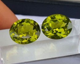 10.35cts, Peridot Pair, Calibrated,  Eye Clean ,  Untreated, Vivid