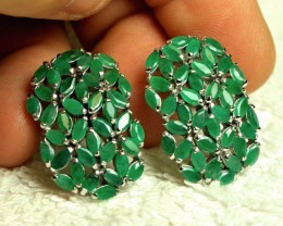 1$NR - 60.5 Tcw. Emerald, 14K White Gold Plated Silver Earrings