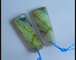 Natural Labradorite Earrings 32x13x3mm,24ct(s032)