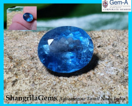 10mm 2.63ct Aquamarine oval faceted gem Deep Blue unheated from Tamil Nadu