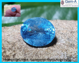 11mm 3.82ct Aquamarine oval faceted gem Deep Sky Blue unheated from Tamil N