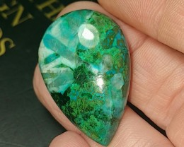 48ct 34mm Chrysocolla Malachite Dioptase cabochon drop shape