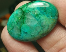chrysocolla 26ct 31.5mm with dioptase malachite quartz