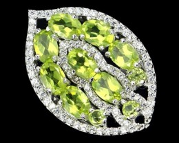 30.46Ct Stamped 925 Silver Ring Sz 9 / Apple Green Peridot