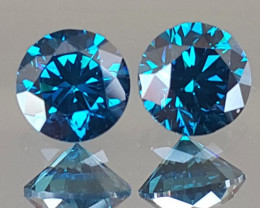 4.75mm, Certified Blue Diamond Pair, Top Quality,  High End Stones
