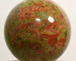 "2.3"" Natural Unakite Sphere Red Green Crystal Ball India (STUNB-NA21)"