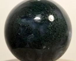 """2.1"""" Green & Blue Moss Agate Sphere Crystal Stone India (STGMAB-NA"""