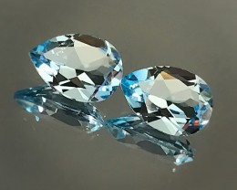 4.38ct SWISS TOPAZ PAIR - JEWELLERY GRADE GEMS 10 x 7.0mm