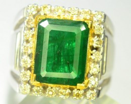 Natural Silver emerald ring with diamonds