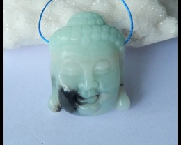 Natural Amazonite Carving Buddha Head Pendant Bead,31x24x11mm,52.5ct(170318