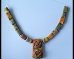 Natural Muti Color Picasso Jasper Carved Flower Necklace Beads,44x23x13mm,1
