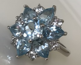 DAZZLING TOPAZ STERLING SILVER RING SIZE 8.0