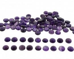 Amethyst 1600 cts 120st 14mm Round Cabochon