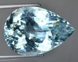 19.19 Cts UNHEATED Natural Topaz Mint Blue Pear Cut Brazil