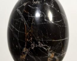 "2.3"" Natural Black & White Crystal Zebra Onyx Egg - Peru (STBWOE-P"
