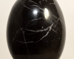58mm Black Zebra Onyx Egg Polished Crystal Mineral Peru (STBWOE-PA60)