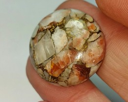 26.5ct 23mm mojave calcite round cabochon